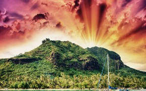 Wallpaper clouds, tropics, jungle, the sun, photoshop, sea, shore, yacht, the sky, mountains, French Polynesia, rays, ...