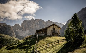 Picture mountains, house, The Dolomites