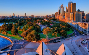 Picture the sun, trees, sunset, Park, building, home, the evening, Australia, Sydney, the view from the …