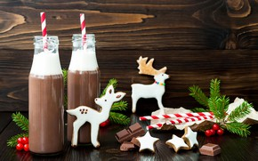 Picture tree, chocolate, cookies, drink, deer, Christmas, chocolate, glaze, cocoa, drink, cookies