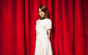 Picture makeup, figure, dress, actress, hairstyle, red, red, beauty, curtains, in white, photoshoot, posing, Emma Stone, …