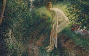 Picture erotic, landscape, nature, picture, Camille Pissarro, Bather in the Woods