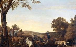 Picture landscape, oil, picture, Ludolf de Jong, Fox hunting