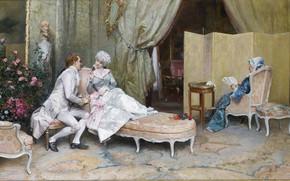 Picture Raimundo de Madrazo and Garreta, ode to a beautiful lady, Flirting