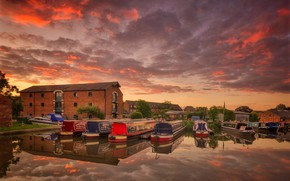 Picture clouds, house, boat, England, glow, harbour, Derbyshire, Shardlow
