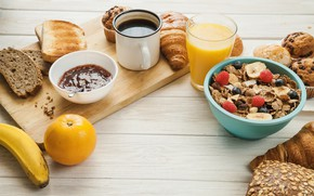 Picture berries, muesli, food, Breakfast, juice, citrus