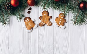Picture new year, spruce, carnation, cakes, gingerbread