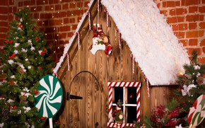Picture decoration, toys, tree, New Year, Christmas, gifts, house, Christmas, design, wood, Merry Christmas, Xmas, interior, …