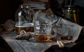 Picture beer, fish, newspaper, roach, knife, Bank, matches, mug