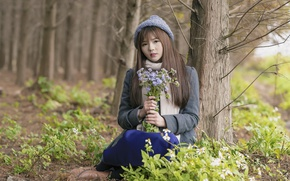 Picture forest, look, girl, flowers, mood