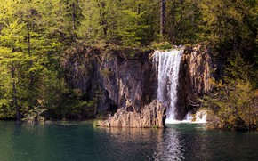 Picture forest, the sun, trees, lake, waterfall, Croatia, Plitvice national park