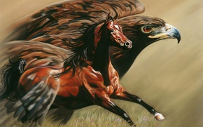Picture figure, Horse, Eagle, painting