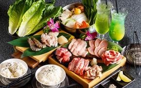 Picture glasses, cocktail, meat, figure, vegetables, salad, shrimp, seafood, cuts