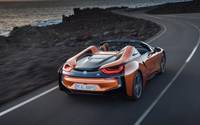 Wallpaper rear view, BMW i8, 2018, Roadster
