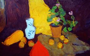 Picture 2006, vase, still life, purple flowers, The petyaev, yellow zucchini