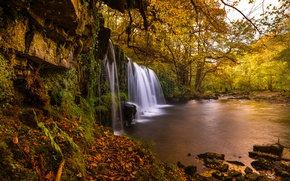 Picture autumn, trees, river, England, waterfall, England, Wales, Wales, Brecon Beacons National Park, National Park Brecon …