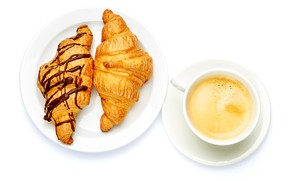 Picture coffee, plate, Cup, white background, drink, croissants