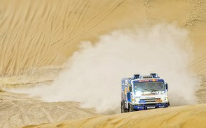 Picture Sand, Dust, Sport, Machine, Speed, Truck, Race, Master, Lights, Russia, Kamaz, Rally, Dakar, KAMAZ-master, Dakar, …