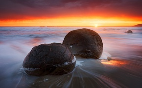 Picture wave, beach, light, sunset, nature, stones, the evening, excerpt