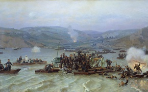 Picture water, explosions, boats, Nikolai DMITRIEV-ORENBURG, The crossing of the Russian army, across the Danube from …
