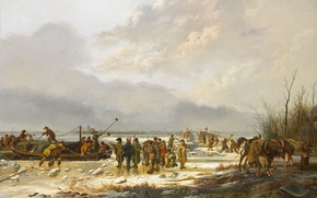 Wallpaper landscape, oil, picture, canvas, Pieter Gerardus van OS, Frozen Karnemelksloot in Naarden