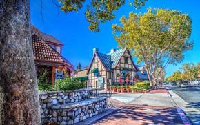 Wallpaper USA, CA, Solvang, street, trees, home, treatment, road, Sunny