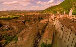Wallpaper Italy, Panorama, Italia, Building, Home, Gubbio, Gubbio, Panorama, Italy, Blur, Roof