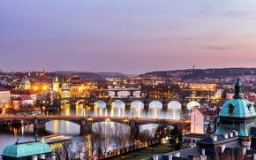 Picture the city, the evening, Prague, Czech Republic, Prague bridges