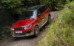 Picture road, forest, vegetation, dirt, Land Rover, black and red, Range Rover Sport Autobiography