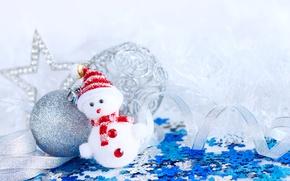 Picture New Year, Christmas, Balls, Snowflakes, Snowmen, Caps