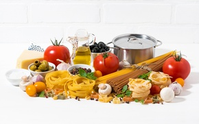 Picture mushrooms, spices, tomato, cheese, eggs, pan, vegetables, pasta, oil, pepper, olives