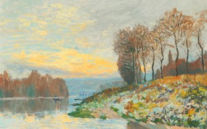 Picture picture, landscape, Alfred Sisley, autumn, Alfred Sisley, The Seine at Bougival. Frosty Morning