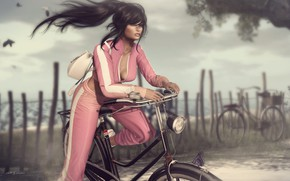 Picture summer, girl, bike, face, style, the wind, hair