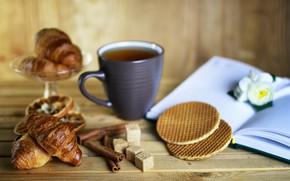Picture background, tea, blur, sugar, book, cinnamon, waffles, cakes, croissants, tea, baking