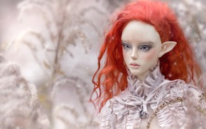Picture elf, doll, red