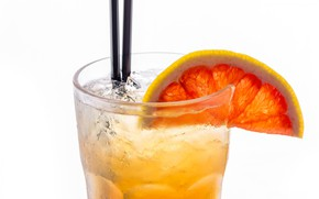 Picture glass, ice, slice, cocktail, tube, drink, grapefruit, lemonade