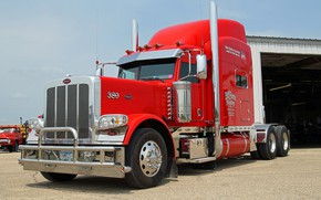 Picture Red, Peterbilt, Hrome, 389