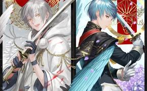 Picture weapons, anime, art, guys, swords, Touken ranbu, Dance Of Swords