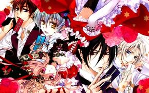Picture card, roses, guys, stars, red ribbon, bangs, ruffles, seiran asagi, kaede higa, kiss of rose …