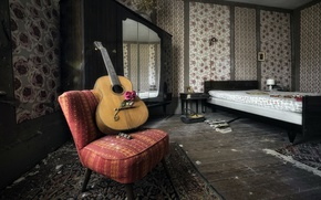 Picture rose, guitar, chair
