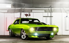 Picture Chevrolet, Camaro, Monster, Green, Tuning, Muscle car