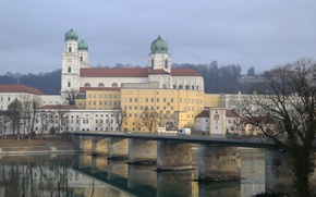 Picture bridge, river, Germany, Bayern, Passau, St. Stephen's Cathedral