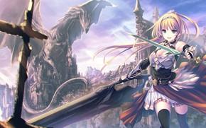 Picture sword, rock, armor, anime, ken, blade, dragon, castle, asian, warrior, manga, oriental, asiatic, oppai, japonese