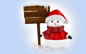 Picture winter, rendering, holiday, New year, snowman, children's