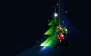 Wallpaper Christmas ornaments, rendering, Christmas tree, Christmas, New Year, balls, minimalism, simple background, stars
