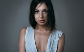 Picture look, girl, background, portrait, makeup, brunette, hairstyle
