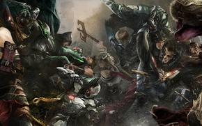 Picture Batman, heroes, Robin, Superman, battle, Cyborg, Aquaman, The Flash, Blue Beetle, NetherRealm Studios, Injustice 2