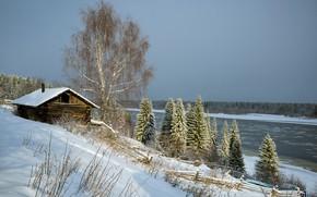 Picture snow, river, Pechora