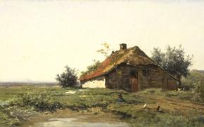 Picture landscape, picture, Paul Joseph Constantine Gabriel, Rural House in open Field