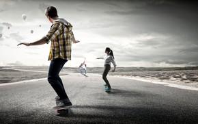 Picture road, girl, shirt, guy, roads, men, skateboard, skateboard